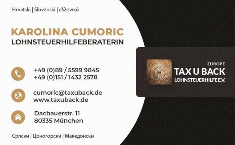 Obavijest – Povrat poreza – Tax u Back